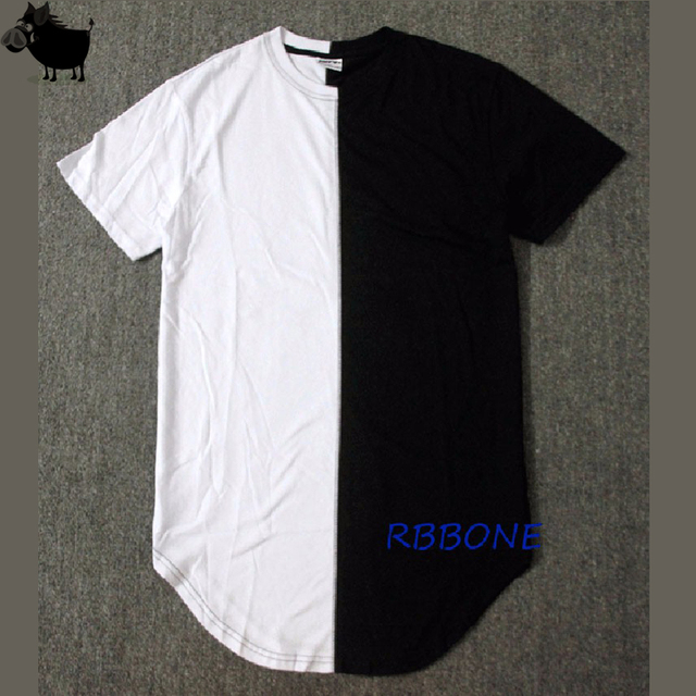 bece89d90ee5 Half black white New Designer 2019 Men Summer Extended Tshirt Hip Hop  Street Fashion Casual Short Sleeve T-shirt Men