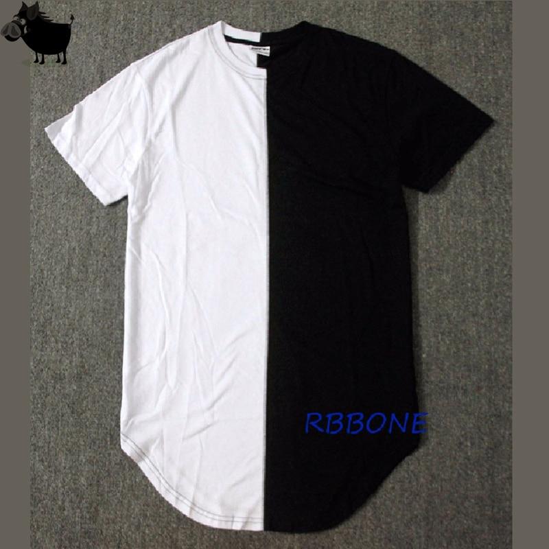 Half black white New Designer 2019 Men Summer Extended Tshirt Hip Hop Street Fashion Casual Short Sleeve T-shirt Men