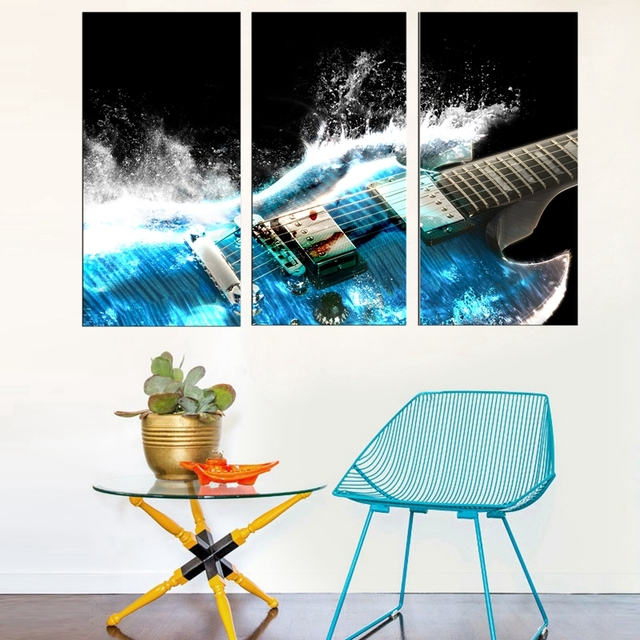 Music Guitar Microphone 30x60cm 3pcs Oil Painting On Canvas For Bedroom  Decor Wall Art Fashion Gifts