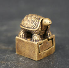 25MM Curio Chinese Bronze Animal TWo Monkey Tortoise Shou Turtle Small Statue
