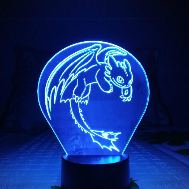 How To Train Your Dragon Night Light LED 3D Illusion USB Touch Sensor RGB Child Kids Gift Night Fury Table Lamp Desk Decoration