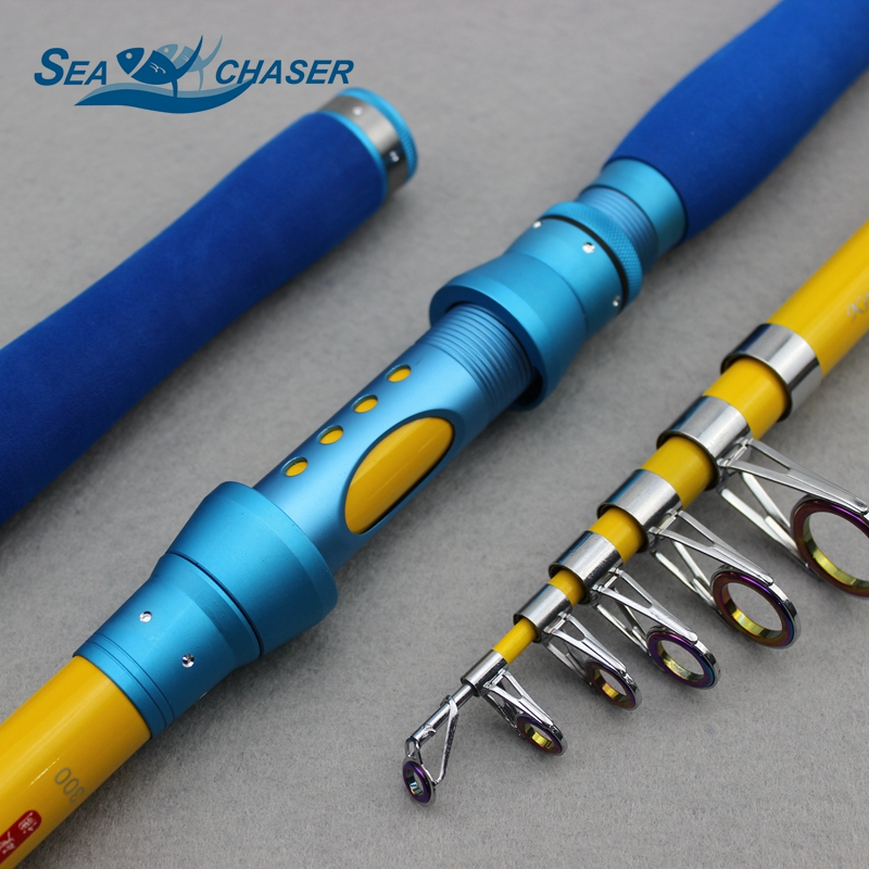 NEW Carbon 1.8M 2.1M 2.4M 2.7M 3.0M Portable Telescopic Fishing Rod Spinning Fish Fishing Tackle Lure Weight 7-40g Sea Rod