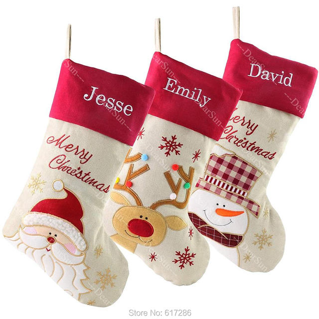 Personalized Christmas Stockings Customized Name Embroidered Name Christmas Gifts for Family DHL TNT Free Shipping Size