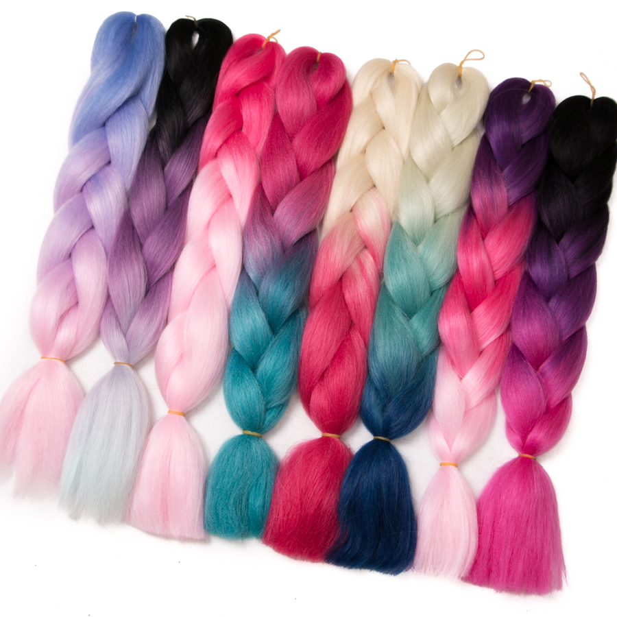 VERVES 10 pcs/lot Ombre Braiding Hair Jumbo braids Synthetic Two and three Tone kanekalon Fiber Braid Hair Extensions