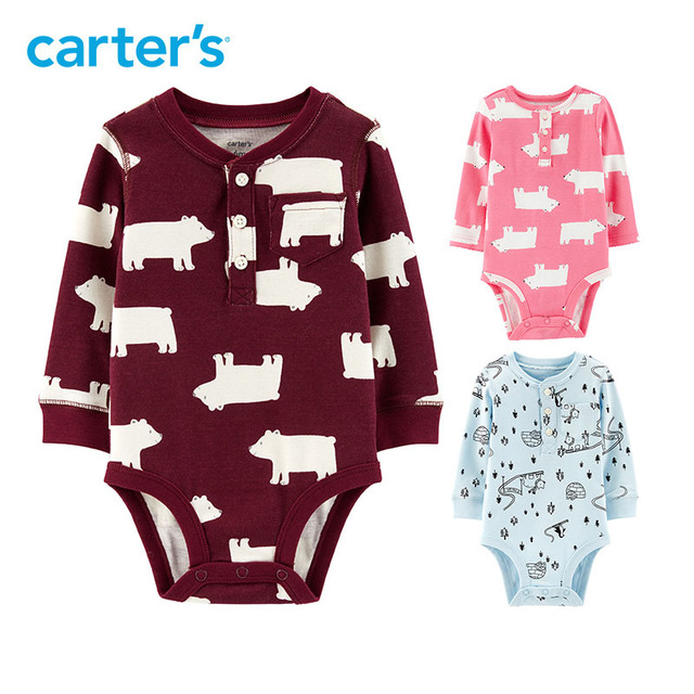 Carters baby bodysuits Cute print cotton long sleeve baby girl clothes autumn winter newborn baby boy clothing 118I545