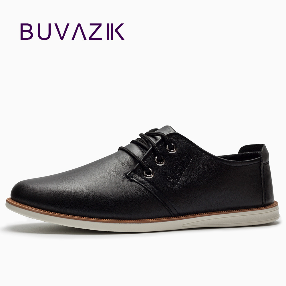 BUVAZIK 2018 lace-up men's casual leather shoes hard-wearing non-slip rubber sole comfortable soft flats men shoes business men tie shallow mouth brown leather casual rivet shoes men s shoes round youth non slip rubber sole