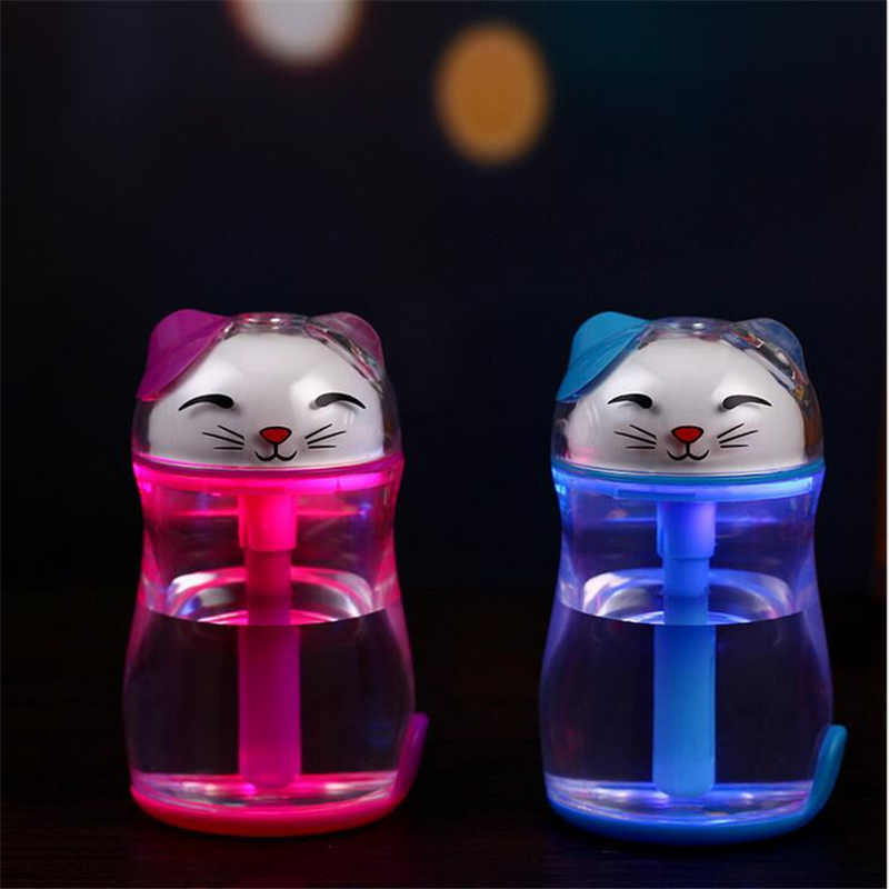 USB Lucky Cat LED Night Light Air Humidifier Purifier Atomizer Essential Oil Diffuser Aroma Mist Maker Fogger  With Color Change 2017 new desktop volcano air humidifier air cleaner air purifier mist diffuser aroma machine with night light