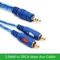 Оригинальный 3.5 ММ на 2RCA Мужской Aux Кабель Позолоченный 3.5 Джек аудио RCA Кабели для Mp3 Динамики ТЕЛЕВИЗОРА Звук 1.5 М 3 М 5 М
