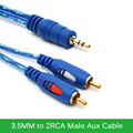 Original 3.5MM to 2RCA Male Aux Cable Gold Plated 3.5 Jack Audio RCA Cables  for Mp3 TV Sound Speakers 1.5M 3M 5M