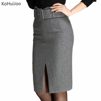 KoHuiJoo Autumn Winter Women Wool Skirt Solid High Waist Ladies Woolen Skirt Ladies Slim OL Bodycon Pencil Skirts Plus Size 4XL