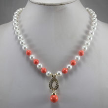wholesales/retail simple 8mm white mixed orange red pearl necklace+14mm pearl pendant gift, 18 inches free shipping(China)