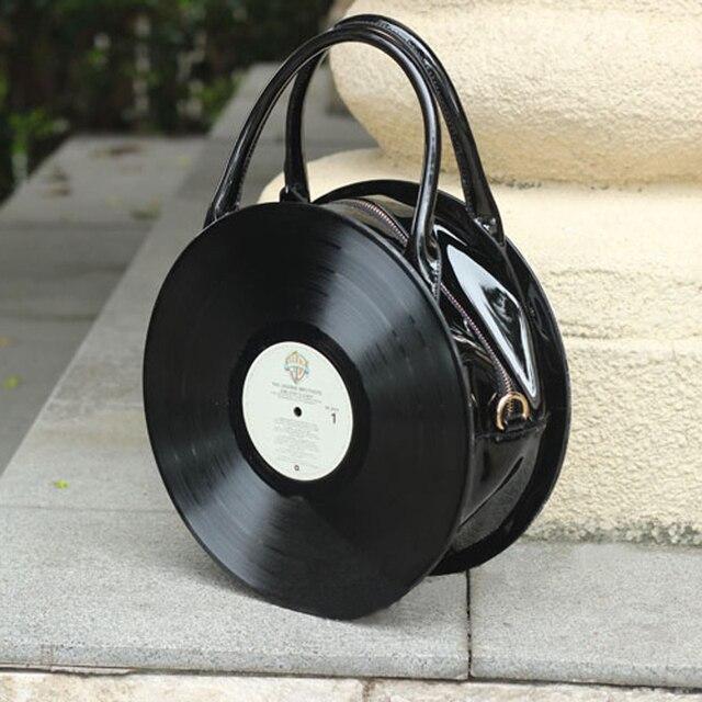 Saco CD do vintage Circular mulheres Designers de couro bolsas Casual mulheres Messenger Bags engraçado saco de embreagem lolita bolsa de ombro
