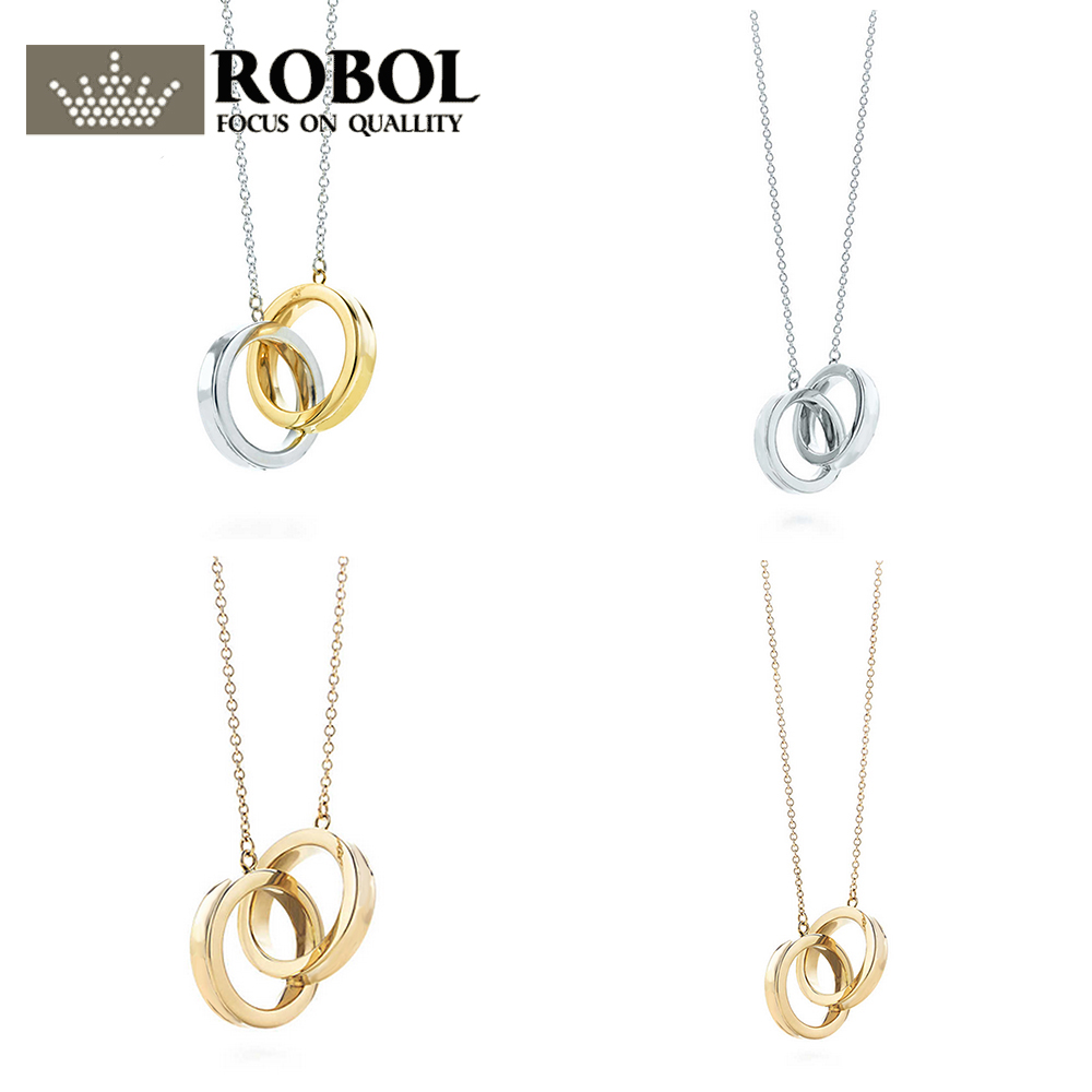 ROBOL New on-line 925 Sterling Silver Golden Color Double Popular Necklace Rose gold Pendant charm Jewelry Birthday GiftROBOL New on-line 925 Sterling Silver Golden Color Double Popular Necklace Rose gold Pendant charm Jewelry Birthday Gift