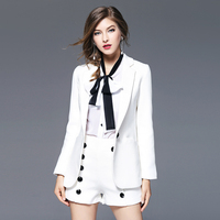 Top Women's autumn dress new professional wear cardigan long sleeved Slim two small suit jacket female short section cotton
