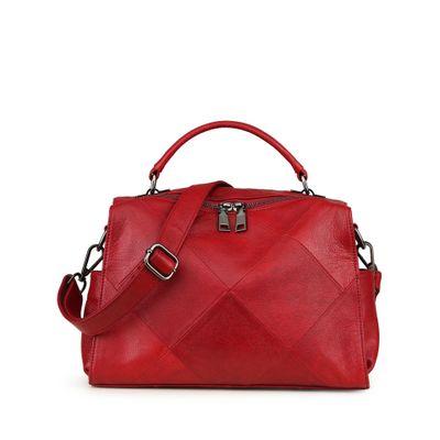 Véritable patchwork de cuir femmes totes doux première couche de peau de vache une épaule sac nouveauté lady causal noir rouge croix-corps sac
