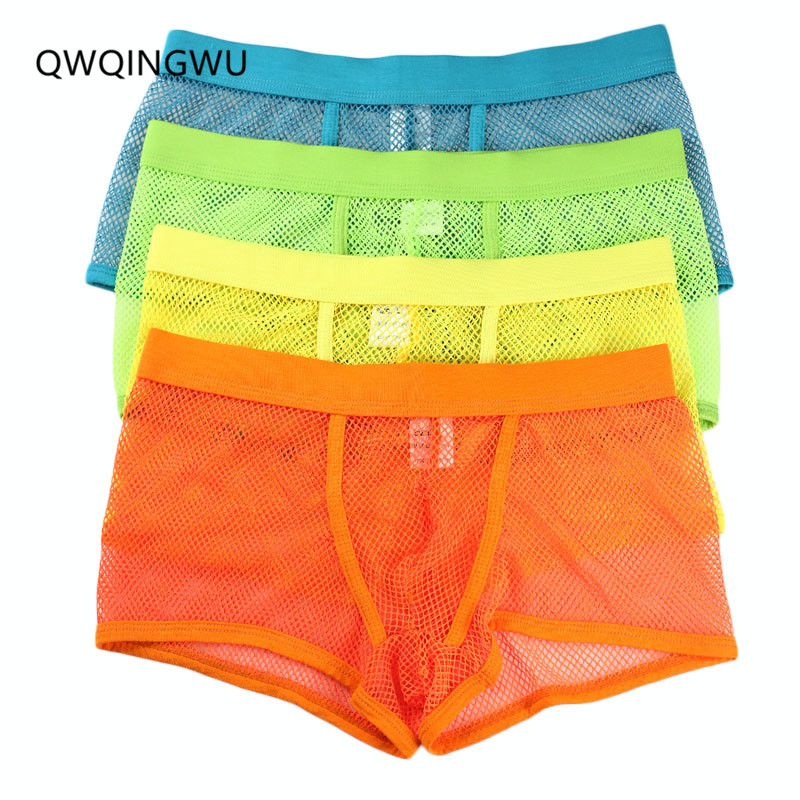 4PCS Sexy Men Boxers Underwear Elasticity Sexy Hollow Mesh Shorts Gay Sleepwear Quick Drying Breathable Crotch Summer Underwear ...