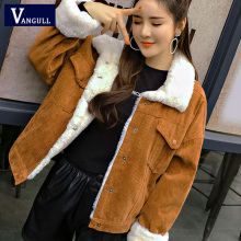 VANGULL женская зимняя куртка, пальто с толстым мехом, парки, модная Вельветовая куртка-бомбер с подкладкой из искусственного меха, милая верхняя одежда, новинка