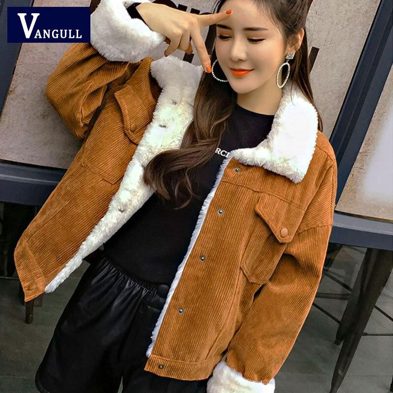 Chaqueta de Invierno para mujer VANGULL abrigo grueso de piel forrado Parkas de piel sintética forro de pana Bomber chaquetas lindo Outwear 2019 nuevo