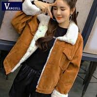 VANGULL Frauen Winter Jacke Dicken Pelz Gefüttert Mäntel Parkas Mode Faux Pelz Futter Cord Bomber Jacken Nette Outwear 2019 Neue