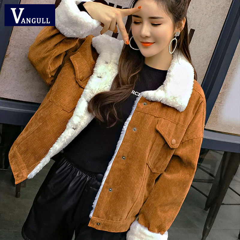 VANGULL Women Winter Jacket Thick Fur Lined Coats Parkas Fashion Faux Fur Lining Corduroy Bomber Jackets Cute Outwear 2019 New(China)
