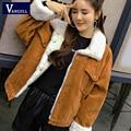 Vangull casaco de inverno feminino grosso peles forrado casacos parkas moda falso forro de pele veludo bombardeiro jaquetas bonito outwear 2019 novo