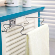ФОТО vanzlife Creative back door type stainless steel trash bag shelf storage hook multifunctional kitchen cabinet door hanging cloth