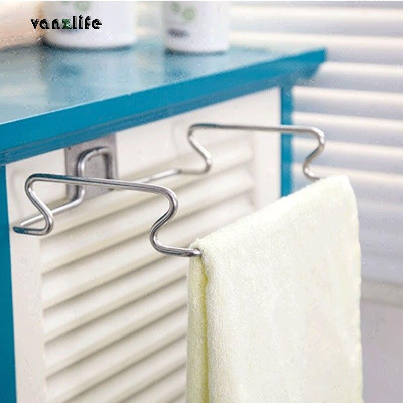 vanzlife creative back door stainless steel trash bag shelf storage hook multifunctional kitchen cabinet door hanging racks