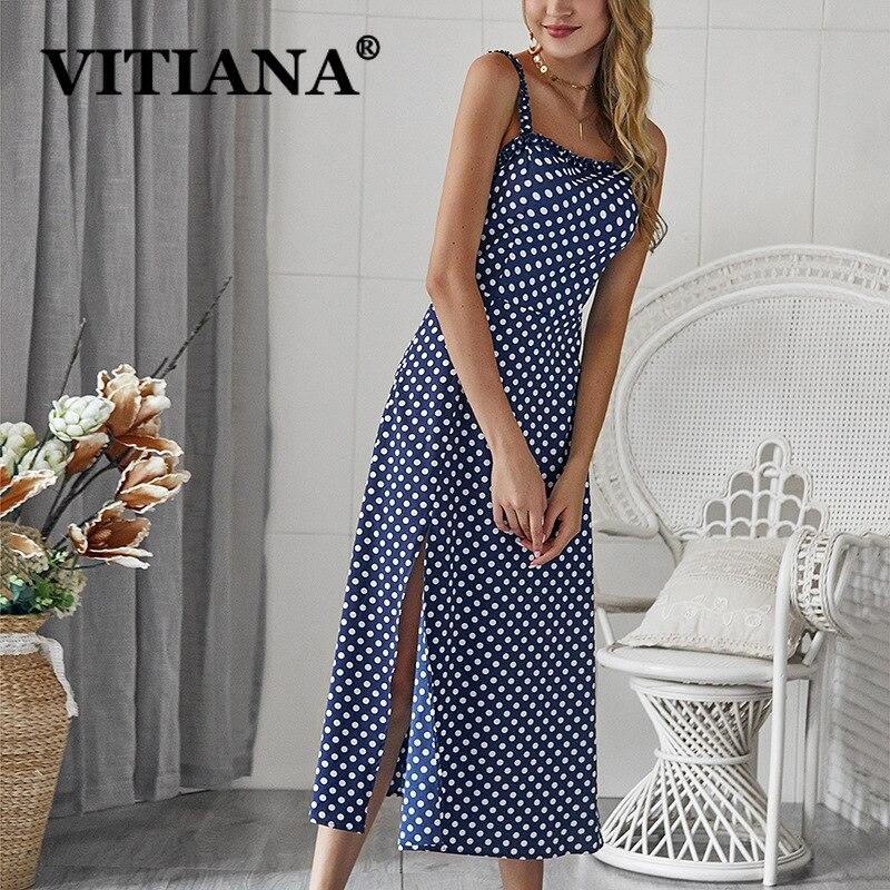 VITIANA Women Sexy Party Dress Summer 2019 Female White Dot Print A-Line Long Beach Slip Dress Ladies Office Work Clothes