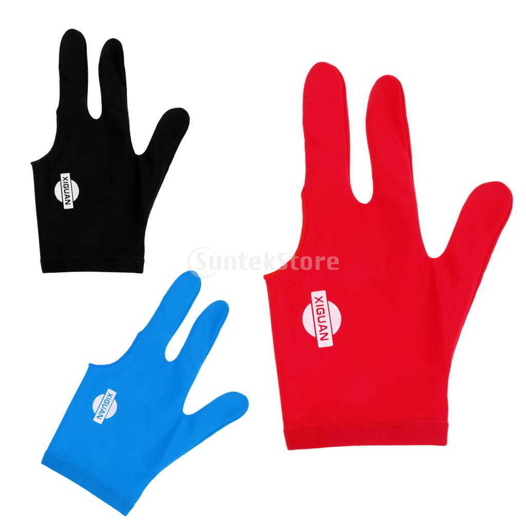 Spandex Snooker Billiard Cue Glove Pool Left Hand 3 Finger Accessory Pool Cue Sticks Glove - 3 Colors