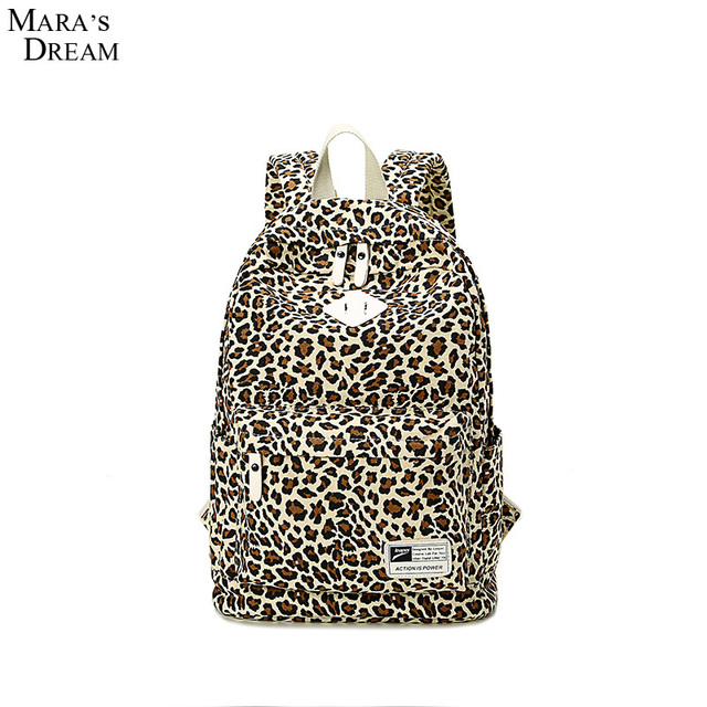Mara's Dream 2017 Fashion Printing Leopard Women Backpack Printing Zipper Canvas Lightweight Teenager Girls Travel Casual Bag