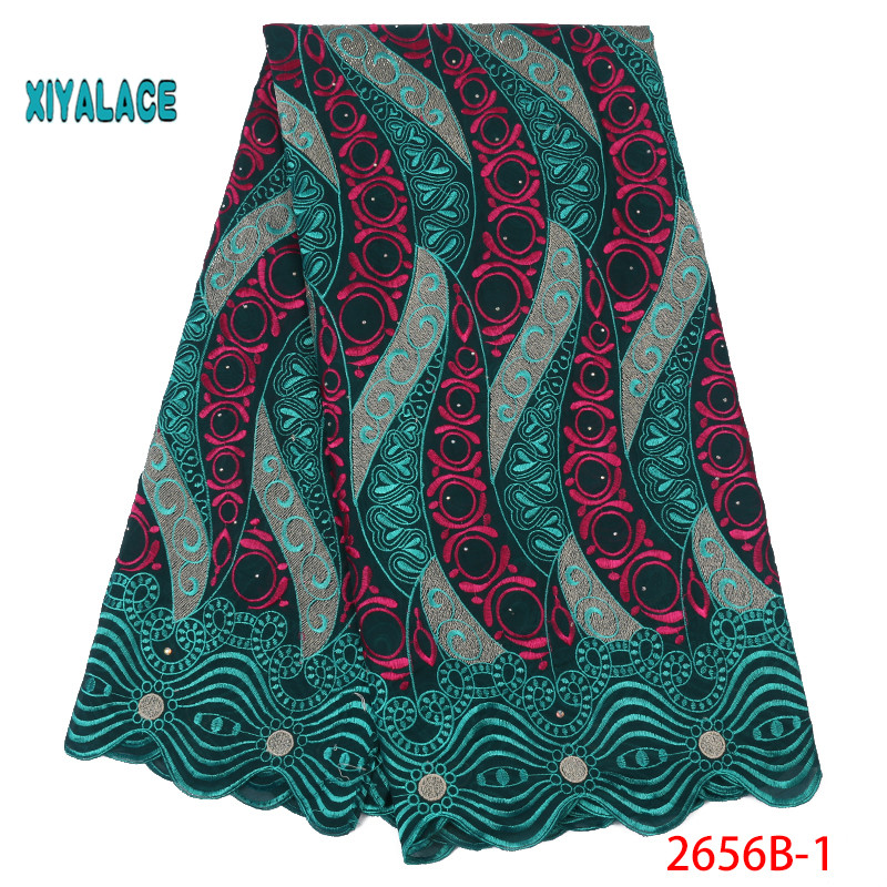 African Lace Fabric 2019 High Quality Lace Voile Lace Fabric New Design Swiss Voile Lace Switzerland Add Stones YA2656B-1