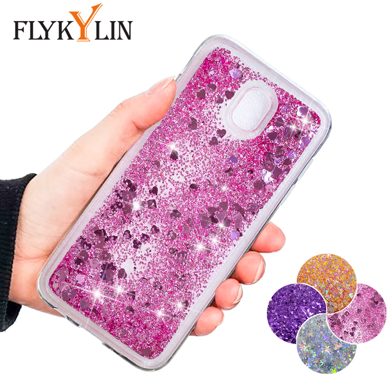 FLYKYLIN Glitter Liquid Case For Samsung Galaxy J3 J5 J7 2017 J4 J6 2018 J4 Plus Cover Bling Quicksand Soft TPU Silicone Coque image
