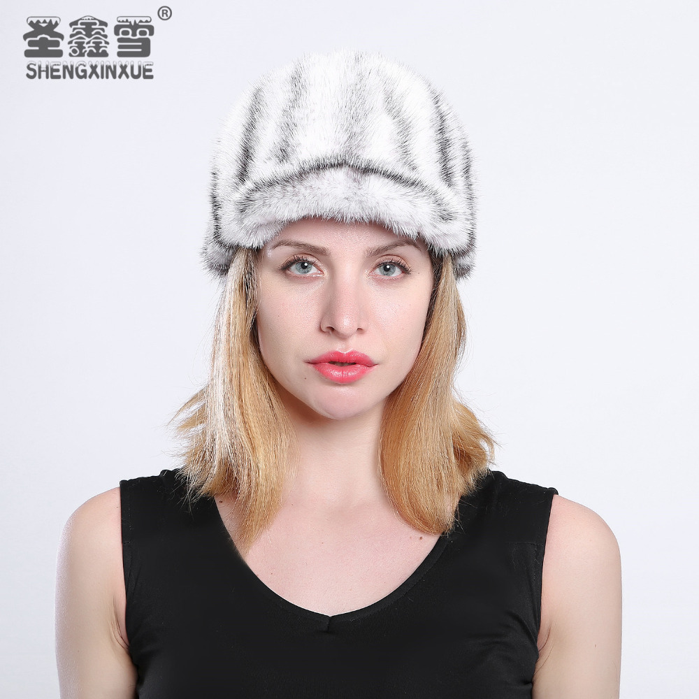 Real Whole Mink Fur Hat Winter new Warm Mink Fur Hat with Real Mink Ears with Warm Hat high Quality Luxury Casual foreign trade explosion models in europe and america in winter knit hat fashion warm mink mink hat lady ear cap dhy 36