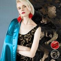 150cm wide red and black high end jacquard silk fabric three dimensional jacquard silk cloth exquisite silk jacquard satin
