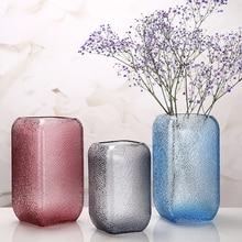 цена на Modern glass vase Blue/gray Square cylinder flower organ terrarium glass containers flower vase wedding vases home decoration