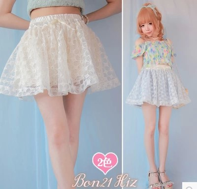 Princess sweet lolita skirt BOBON21 exclusive original design Fairy style flower lace skirt divided skirt B1054 cotton organza