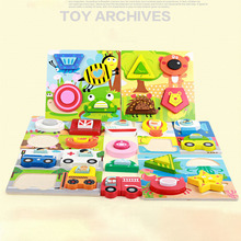 Wooden 3D Standing Volume Wood Puzzle Children's Puzzle Early Education Toy Vehicle Animal Children Birthday Gift все цены