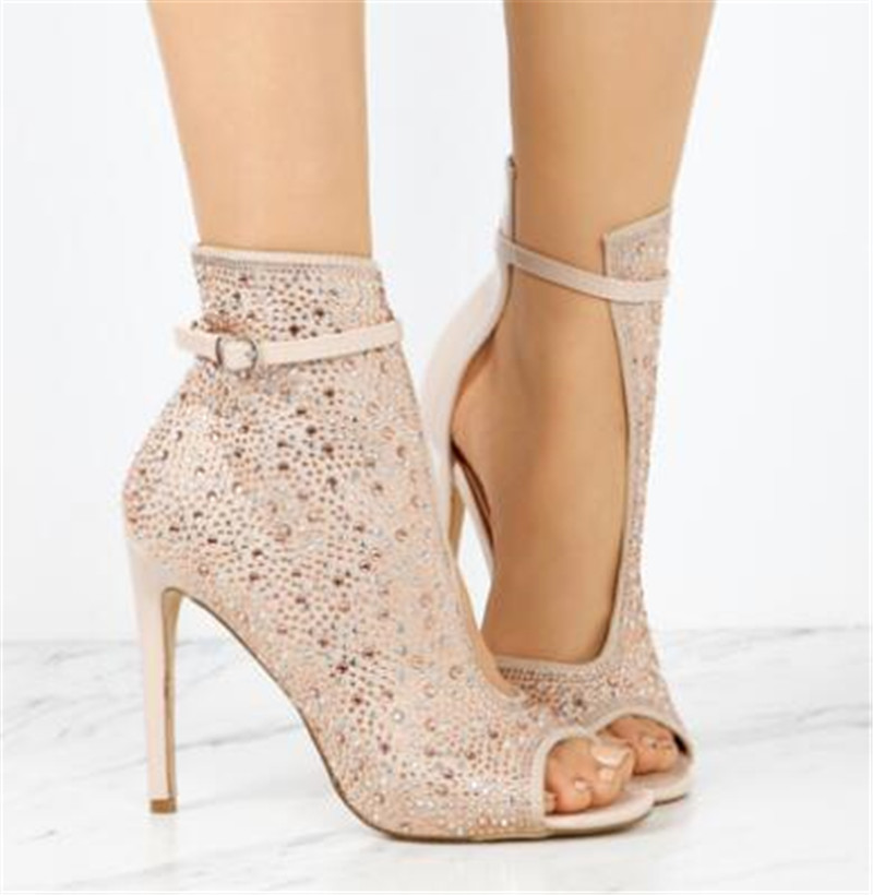 Sestito 2018 dames de luxe strass embelli talons aiguilles chaussures de mariage femme Peep Toe cheville sangle sandales bottesSestito 2018 dames de luxe strass embelli talons aiguilles chaussures de mariage femme Peep Toe cheville sangle sandales bottes