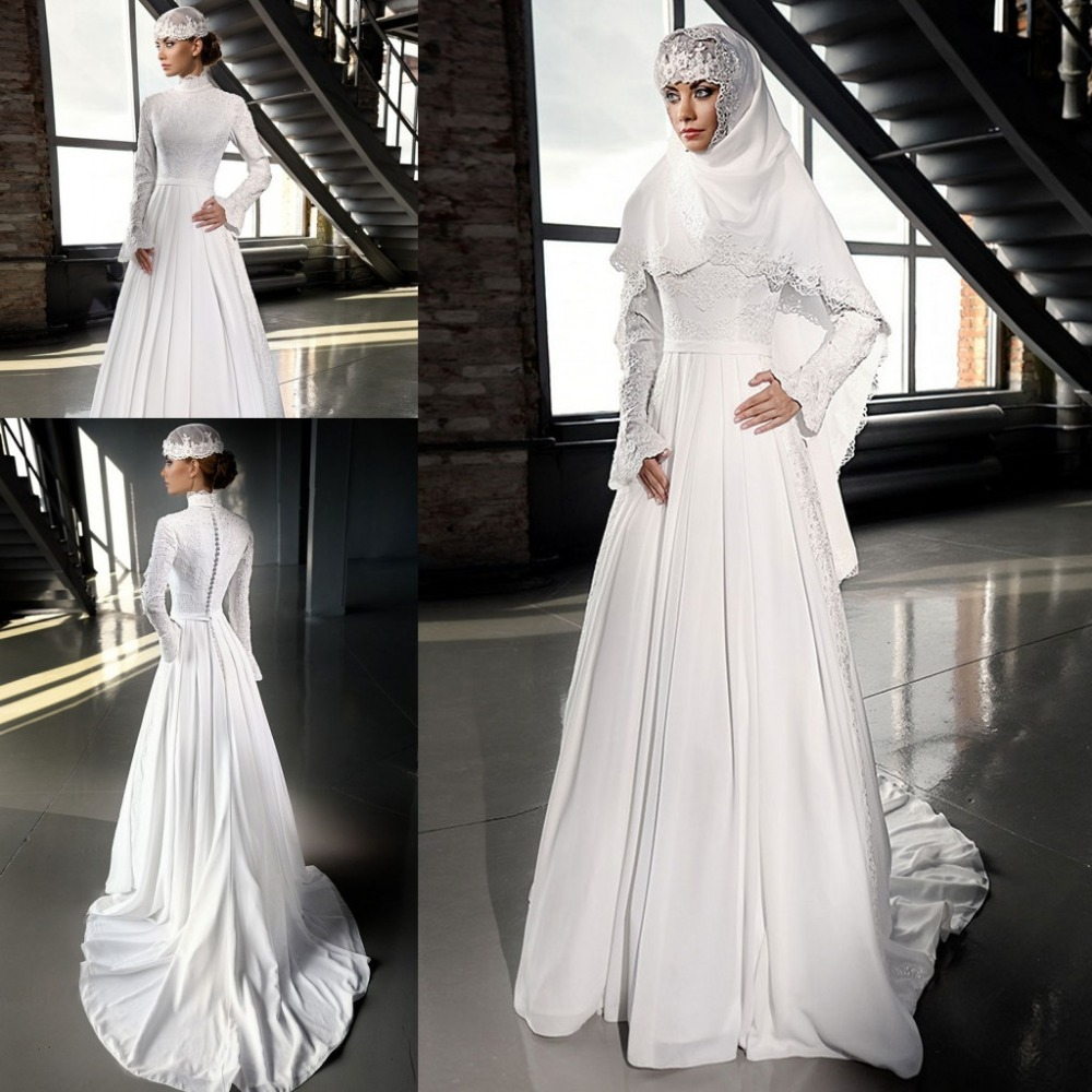 Simple A Line Long Sleeve Wedding Dress Elegant 2016: 2016 New Arrival White Ivory High Neck Muslim Hijab Formal