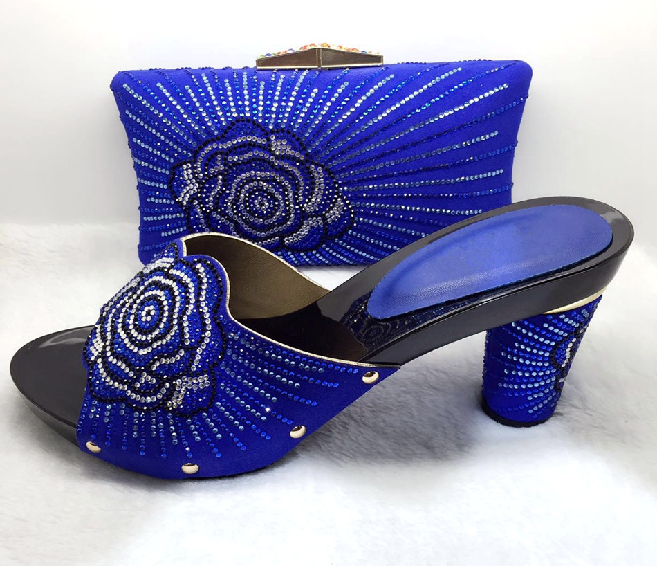 ФОТО Royal Blue Italian Shoes With Matching Bag Fashion African Wedding Shoe And Bag To Match African Women Sandal For Party TT05