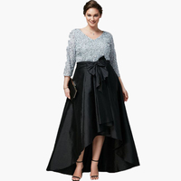 2016 Plus Size Long Women Skirts Elegant Black Taffeta High Low Floor Length Skirts With Chic