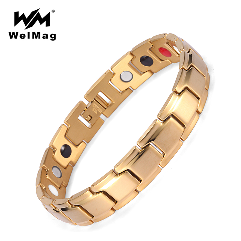 WelMag Accessories Magnetic Bracelets Bangles Men Gold Stainless Steel Energy Stone Bracelet Men Healing Jewelry With FIR