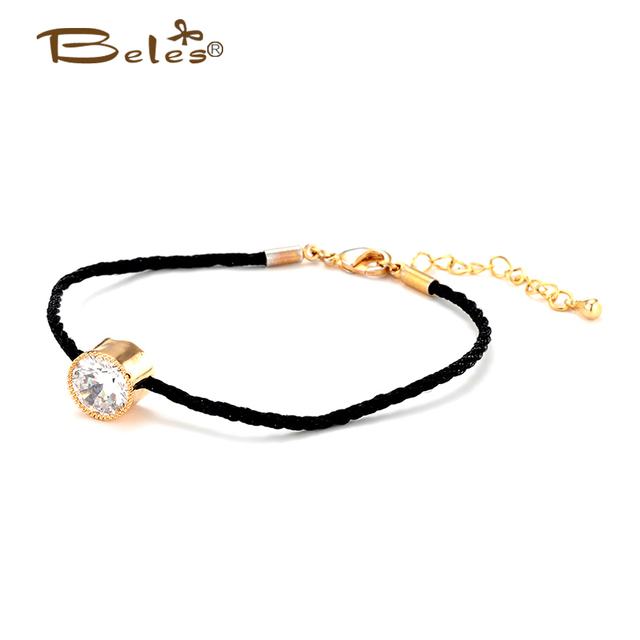 Beles Vintage Round Cz Rose Gold Simple Style Thin Black Thread String Rope Charm Bracelet