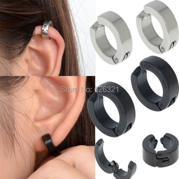 1pair Men S Stainless Steel Ear Stud Cuff Hoop Non Piercing Clip On Earrings Punk Women Jewelry Free Ship In From Accessories