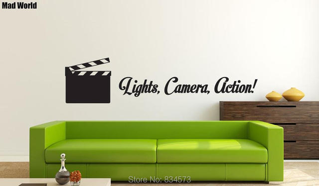 mad world lights camera action quote wall art stickers wall decal