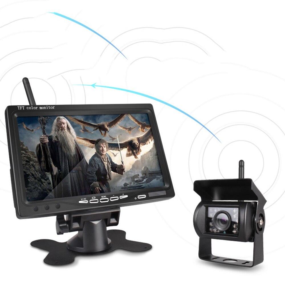 Écran sans fil IPS HD de moniteur de voiture de 7 pouces 2.4G avec la caméra de vue arrière sans fil de CCD de HD pour le bateau DY350 d'autobus de camion de véhicule
