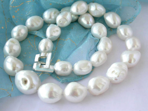 Large white baroque plata de ley 925 de agua dulce collar de perlas 100% Natural perlas de agua dulce collares alta calidad