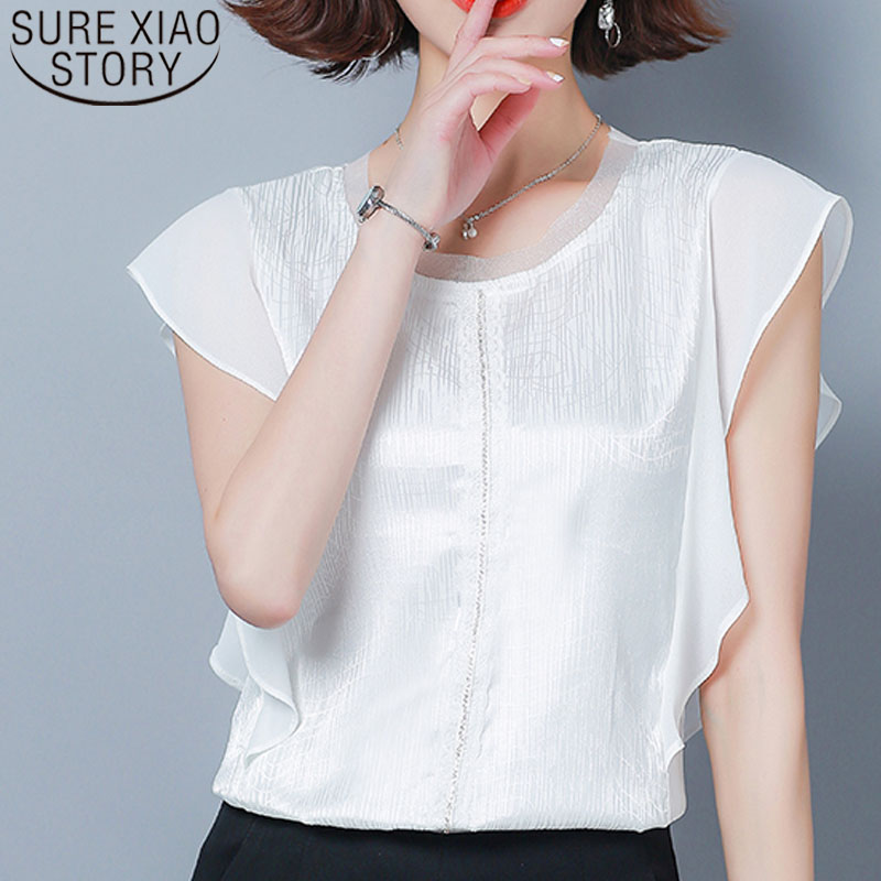 Womens tops and   blouses   2019 chiffon   blouse     shirt   solid short sleeve spliced black white   blouse   ladies tops plus size 4524 50