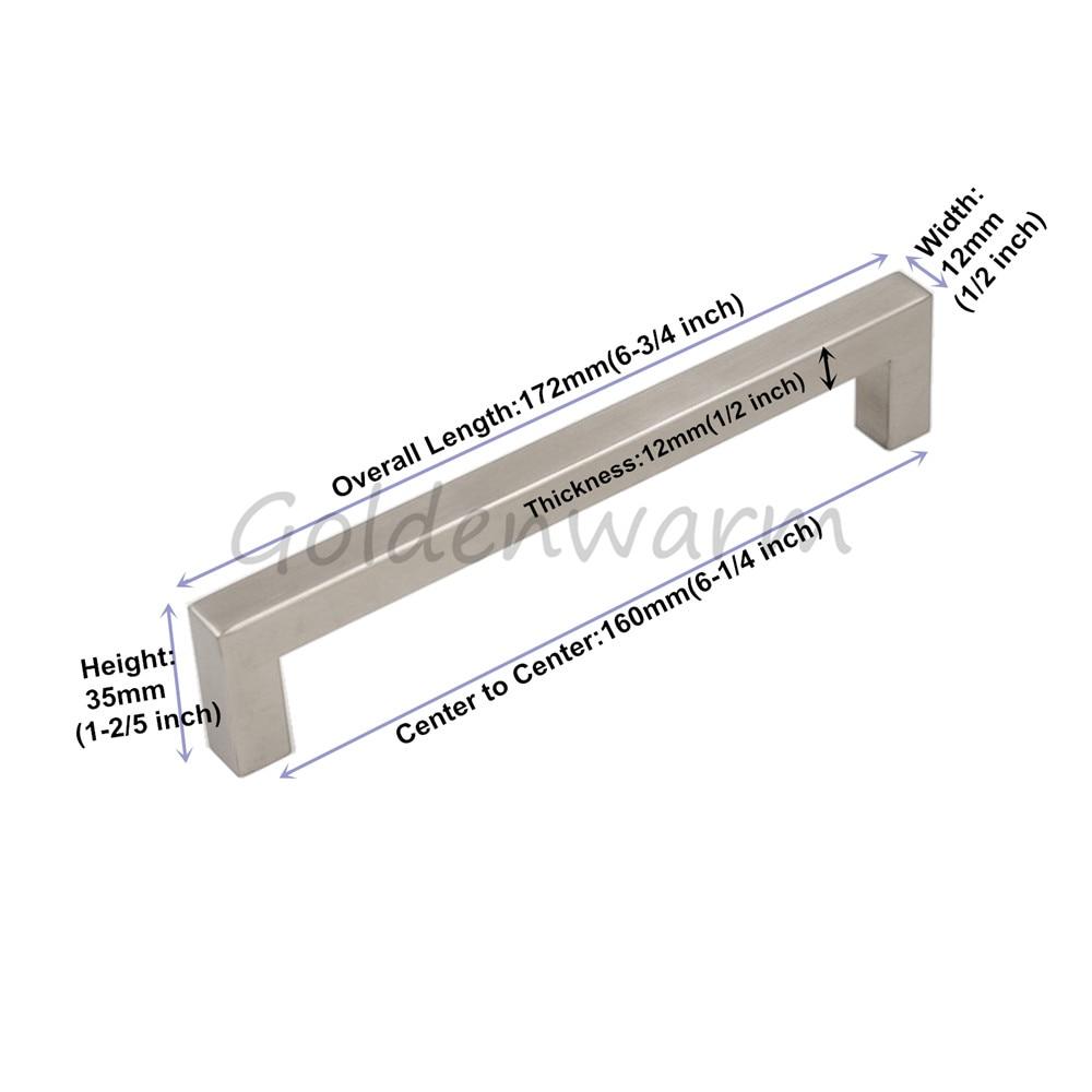 Brushed Nickel Cabinet Handles Drawer Pulls Goldenwarm LSJ12BSS 3.75 ...