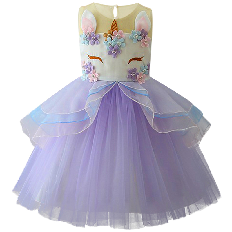 Baby Toddlers Girls Dress Unicorn Beading Floral Tulle Princess Tutu Dresses Kids Cosplay Flower Pearl Party Dress Kids Clothing 2piece 100